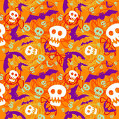 Vector halloween pattern with skulls and bats — Stock Vector
