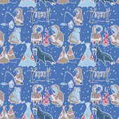 Life at the north pole seamless pattern — Stock Vector