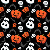 Funny halloween pattern with skulls, bats and pumpkins — Stock Vector