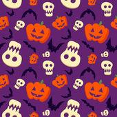 Vector funny halloween pattern with skulls, bats and pumpkins — Stock Vector