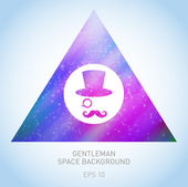 Silhouette gentleman in space triangle — Stock Vector