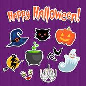 Set of Halloween funny stickers — Stock Vector