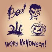 Halloween set con illustrazione di quattro inchiostro spruzzata — Vettoriale Stock