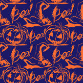 Vector Halloween ink splash pattern with hats and pumpkins — Vettoriale Stock