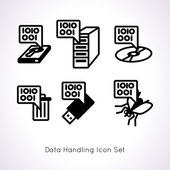 Data handing icon set with six elements — Stock Vector
