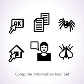 Computer information icon set — Stock Vector