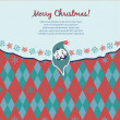 Retro Christmas card with knitted elements — Stock Vector