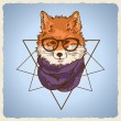 Stock Vector: Hipster fashion fox illustration