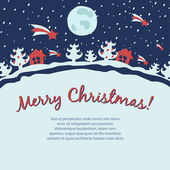 Retro Christmas card with snowfall landscape — Vector de stock