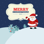 Retro christmas card with Santa — Stock Vector