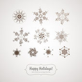 Set of retro delicate snowflakes — Stock Vector