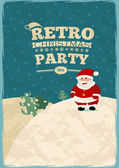 Retro christmas poster card with Santa — Stockvector