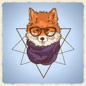 Illustrazione di volpe moda hipster — Vettoriale Stock