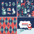 Set of Christmas retro card, pattern and elements — Stock Vector