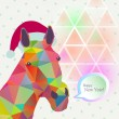 Trendy Christmas card with horse — Stockvectorbeeld