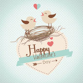 Happy valentines day card with cute bird couple — Stockvector