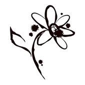 Ink splash illustration with daisy flower — Stock Vector