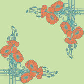 Art-nouveau style frame with poppies — ストックベクタ
