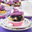 Blueberry cupcakes with marshmallow - Stock Photo