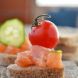 Somon sandvich and canapes — Stock Photo