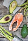 Salmon and srimp and avocado — Stock Photo