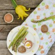 Eggs and asparagus — Stock Photo