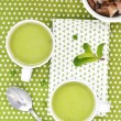 Green pea soup — Stock Photo