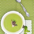 Green pea soup - Stock Photo