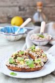 Bruschetta with beans — Stock Photo