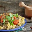 Pasta with lentil — Stock Photo