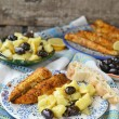 Grill mackerel with potatos salad - Stock Photo
