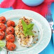 Codfish fillet with baked cherry tomato — Stock Photo