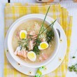 Fish soup with eggs — Stock Photo