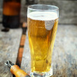 Stock Photo: Lager beer on wooden background