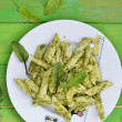 Stock Photo: Pastwith pesto sause