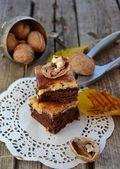 Chocolate and walhnuts brawny — Stock Photo