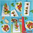 Collage with different kinds of italian antipasti — Foto de Stock