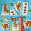 Collage with different kinds of italian antipasti — Stock Photo #31122073