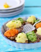 Baked pork with mashed vegetables — Stock Photo