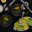 Mint tea with lemon and lime — Stock Photo