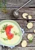 Cream soup with salmon — Stockfoto