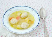 Chicken soup with meat boll — Stock Photo