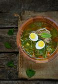 Russian traditional nettle soup with eggs and sour cream — Stock Photo