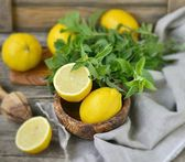 Juicy and ripe organic lemons in a and fresh mint on a wooden background — Stockfoto
