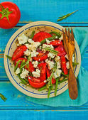 Salad from green beans and tomatoes  — Stock Photo