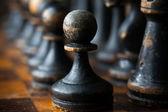 Vintage houten schaakstukken — Stockfoto