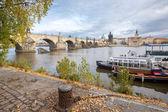 Prague cityscape with Charles bridge — Stock Photo