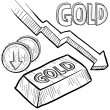 Постер, плакат: Gold prices decreasing sketch