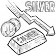 Постер, плакат: Silver prices decreasing sketch