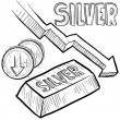 Silver prices decreasing sketch — Stock Vector